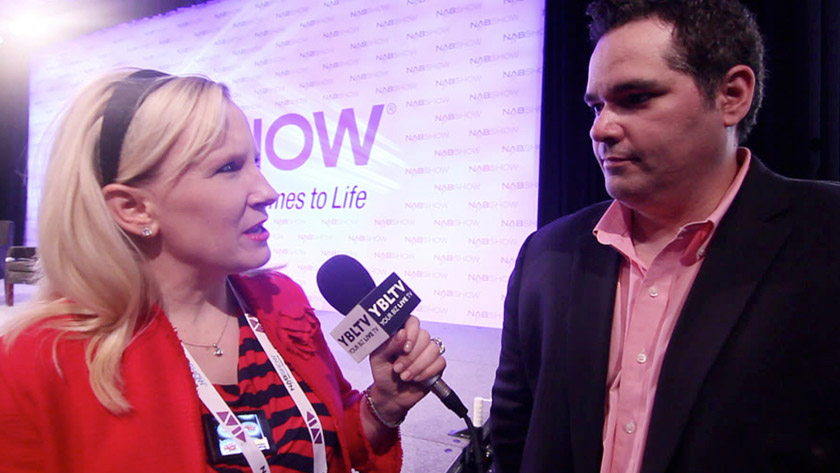 Frank Besteiro, VP & Head of Business Development, AOL Video discusses video strategy with YBLTV Anchor, Erika Blackwell at the National Association of Broadcasters 2013