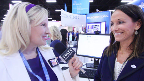 Blue Jeans' Product Marketing Manager, Aspen Moulden with YBLTV Anchor, Erika Blackwell at Interop 2013