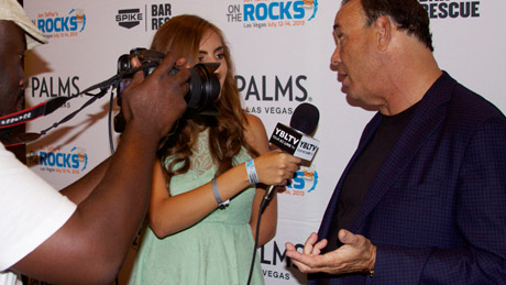 Jon Taffer, President of Nightclub & Bar Media Group, Host & Co-Executive Producer, Spike TV's Bar Rescue with YBLTV Reporter, Chris Salas at On the Rocks Las Vegas 2013 (Your Biz LIVE Photo/On the Rocks Las Vegas)
