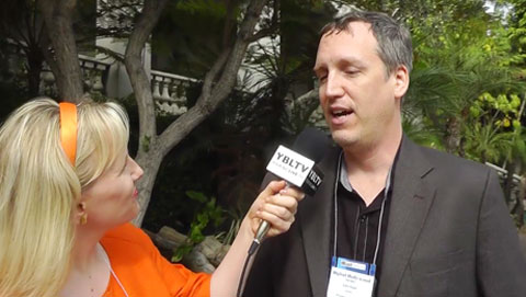 FreelanceCTO, CEO, John Shiple with YBLTV Anchor, Erika Blackwell at Digital Hollywood Fall 2013 (Image Courtesy: Your Biz LIVE).