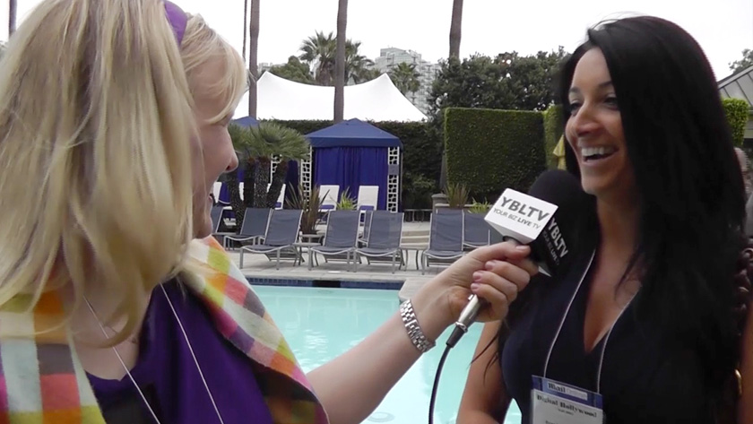 Satya Global's, Brandee Alessandra with YBLTV Anchor, Erika Blackwell at Digital Hollywood Fall 2013. (Image Courtesy: Your Biz LIVE).