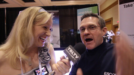YBLTV Anchor Erika Blackwell chats with Ron Gividen, PR/Media Director, Escort, Inc. at International CES 2014.(Image Courtesy: Your Biz LIVE).