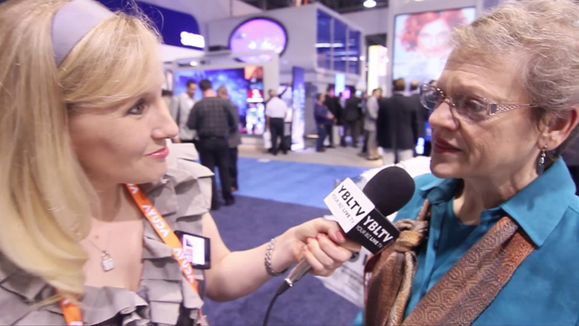 Platt Retail Institute's Director, Global Marketing & Communications, Margot Myers chats with YBLTV Anchor, Erika Blackwell at Digital Signage Expo 2014. (Image Courtesy: Platt Retail Institute/Your Biz LIVE)