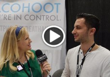 Alcohoot Co-Founder, Jonathan Ofir demos Alcohoot to YBLTV Anchor Erika Blackwell at Nightclub & Bar Show, 2014.