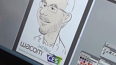 Jon Casey - Bay Area Caricatures demoing Wacom at International CES 2014.
