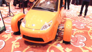 Elio Motors' VP of Sales, Jerome Vassallo talks with YBLTV Anchor, Erika Blackwell at NAB Showstoppers 2014.åç