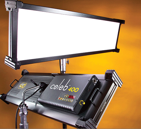 Kino Flo rakes in another NAB Best of Show for its production lighting softlights. This year's award, from Videomaker, goes to the new Celeb® 400 DMX studio and location LED, the only color variable glamour light to ride the spectral sensitivity curves of the best HD and film cameras. The new Celeb 400 is the big brother to last year's NAB Star Award (TV Technology) for the Celeb® 200 DMX LED beauty light (Image Courtesy: Kino Flo).