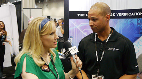 YBLTV Anchor, Erika Blackwell chats with Legal Age Security Systems Vice President / CIO, Andrae Randolph at Nightclub & Bar Show 2014. (Image Courtesy: Legal Age Security Systems/Your Biz LIVE).