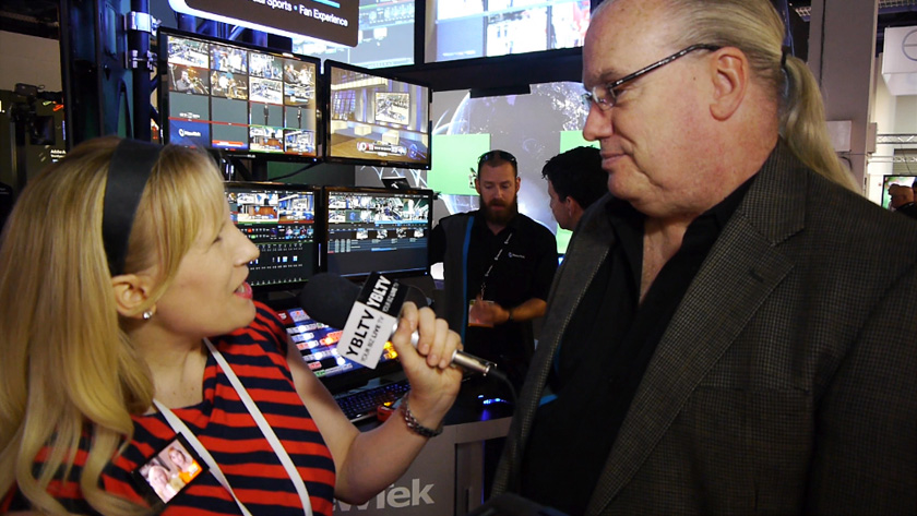 NewTek Region Sales Director, Latin America, Ralph Messana talks with YBLTV Anchor, Erika Blackwell at NAB 2014. (Image Courtesy: NewTek/Your Biz LIVE).