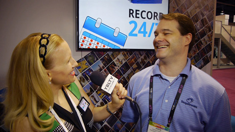 SnapStream, President, Aaron Thompson talks TV search and more to YBLTV Anchor, Erika Blackwell at NAB 2014, Las Vegas, NV. (Image Courtesy: SnapStream/Your Biz LIVE).