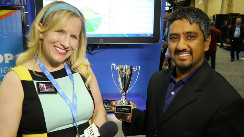 Ankur Chaddah, Spirent Communications plc's Director of Applications & Security Solutions chats with YBLTV Anchor, Erika Blackwell at Interop 2014. (Image Courtesy: Spirent Communications plc/Your Biz LIVE).