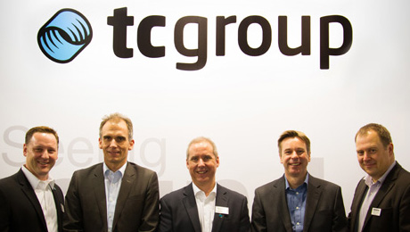 Photo Cutline (left-right): Justin Cadd (TC Group Americas Sales Manager Residential), Markus Halbig (Revox General Manager), Marc Bertrand (TC Group Americas CEO), Steve Croft (Revox Export Sales Director), Christoph Frey (Revox CEO). (Image Courtesy: TC Group Americas).
