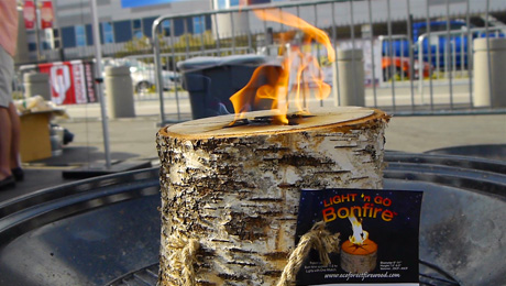 Light n' Go Bonfire Log from the Essay Group at National Hardware Show, Las Vegas, NV, 2014 (Image Courtesy: Essay Group/Your Biz LIVE).