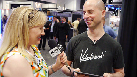 Videolicious Co-Founder & CEO Matt Singers demos the product to YBLTV Anchor, Erika Blackwell at NAB 2014.
