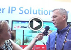 Exterity, Ltd., CEO, Colin Farquhar talks enterprise IPTV and digital signage with YBLTV Anchor, Erika Blackwell at InfoComm 2014. (Image Courtesy: Exterity, Ltd. / Your Biz LIVE).