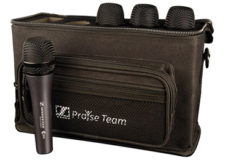 Sennheiser's new Praise Pack consists of (4) e 835 dynamic vocal microphones, (4) mic pouches and (4) mic stand clips, all housed in a rugged and specially embroidered Gator case.