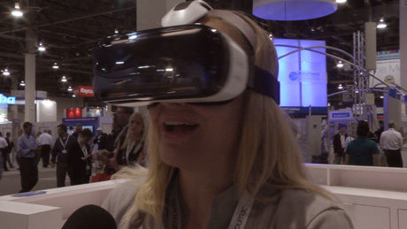 YBLTV Anchor, Erika Blackwell experiences Samsung Gear VR at CTIA SMW 2014.