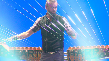 William Close strung his Earth Harp from the stage to the balcony of Mary D'Angelo Performing Arts Center.