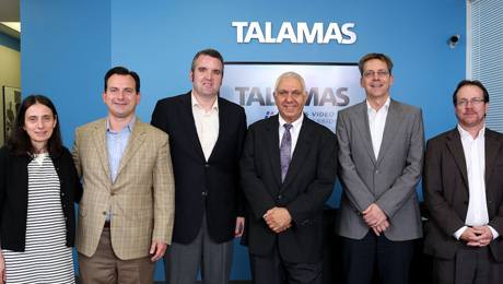 From left to right: Diane Talamas, CFO, Sales Manager, Talamas Sales and Rentals; Greg Beebe, President, Sennheiser Electronic Corporation, Chris Clay, Eastern Regional Sales Manager, Professional Systems, Sennheiser Electronic Corporation, Dave Talamas, President , Talamas Sales and Rentals; Peter Claussen, President Professional & Integrated Systems, Sennheiser electronic GmbH & Co. KG; Michael Cleary, Area Sales Manager, Sennheiser Electronic Corporation.  (Photo credit: Michael Duca)
