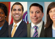 Federal Communications Commissioners Mignon Clyburn, Michael O'Rielly, Ajit Pai and Jessica Rosenworcel