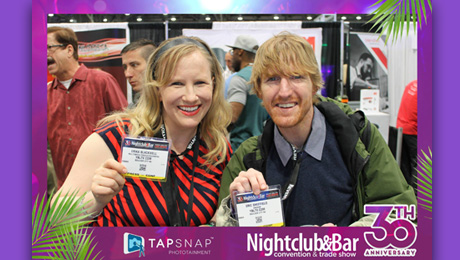YBLTV Anchors, Erika Blackwell and Eric Sheffield at the 2015 Nightclub & Bar Show, Las Vegas, NV.