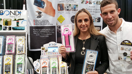 Bondi President, Sima Dan with Easy Hold's, International Sales Manager, Alon Anisfeld at the 2015 National Hardware Show.