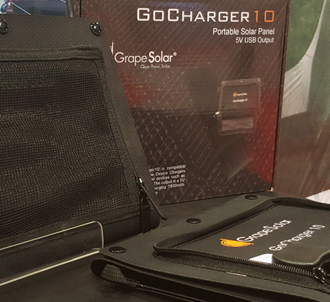 Grape Solar's Go Charger 10 at the 2015 National Hardware Show.