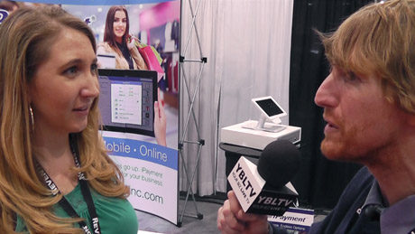 iPayment Inc.'s. Courtney Lester, Director of Strategic Development chats with Eric Sheffield at the 2015 Nightclub & Bar Show.