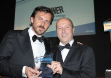 Powersoft sales director Luca Giorgi (right) and head of brand and communications Francesco Fanicchi (left) accept the Star Product Awarded in the Hospitality category at the InstallAwards 2015.