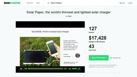 World's Thinnest Solar Charger Reaches $15,000 in Kickstarter