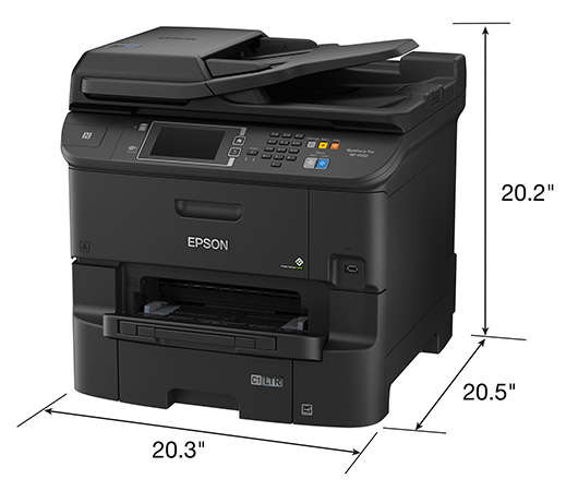 Epson WorkForce Pro WF-6530 All-in-One Printer. Product dimensions.