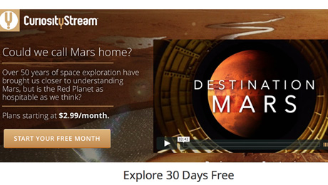 CuriousityStream Premieres Mars Programming In Anticipation of The Martian Release