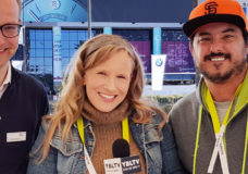 Philipp Reinisch, Expert Strategy and Communication Driver Assistance at BMW Group, YBLTV Anchor, Erika Blackwell and YBLTV Camera / Multimedia Producer, Scott Pesqueira at CES 2016.