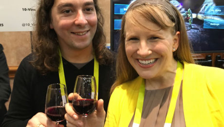 10-Vins Co-Founder, Luis Da Silva Cheers the New Year With YBLTV Anchor, Erika Blackwell at CES Unveiled 2016, Las Vegas, NV.