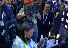 YBLTV Contributing Reporter, Bianca Bledsoe and YBLTV Camera / Multimedia Producer, Scott Pesqueira at VRX Simulators, Ltd. at CES 2016.