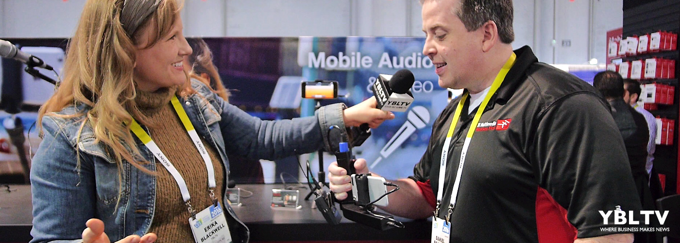 K Multimedia, Sales Manager, Daniel Boatman chats with YBLTV Anchor, Erika Blackwell at CES 2016.
