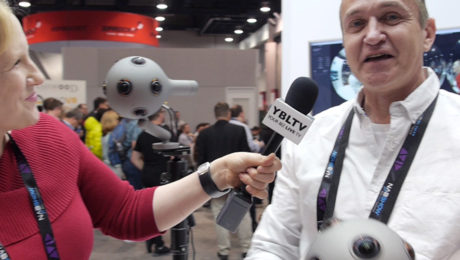 Nokia Technologies' Head of Presence Capture, Guido Voltolina chats with YBLTV Anchor, Erika Blackwell at the 2016 NAB Show. Image by Kayla Costanzo, YBLTV Writer / Reviewer, YBL, LLC.
