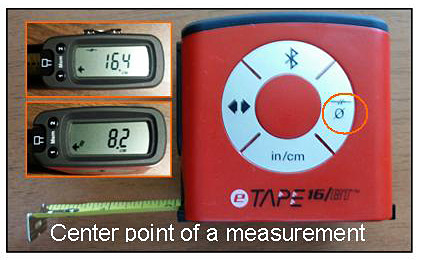 eTape16 Digital Tape Measure : Center point of measurement. Source: DIY Pipeline, YBLTV / YBL, LLC.