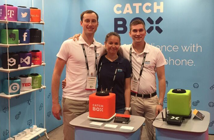 Helping to increase engagement at InfoComm 2016, L-R Egils Zanderz, Head of Partner Sales; Sofia Nikolaeva, Business Development and Timo Kauppila, CEO and Co-Founder.