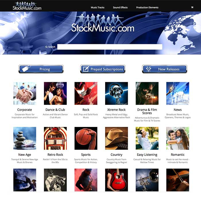 StockMusic.com Launches Re-Designed Web Site. StockMusic.com Home Page.
