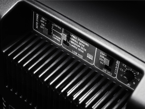 Detail of the KH 80 DSP rear panel showing the operating controls of the monitor loudspeaker.