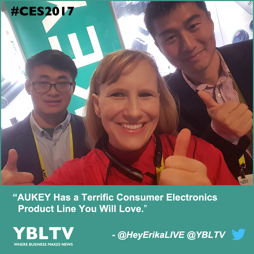 AUKEY's Account Manager, Eli Liu, Sales Manager, David Wu with YBLTV Anchor, Erika Blackwell at CES 2017.
