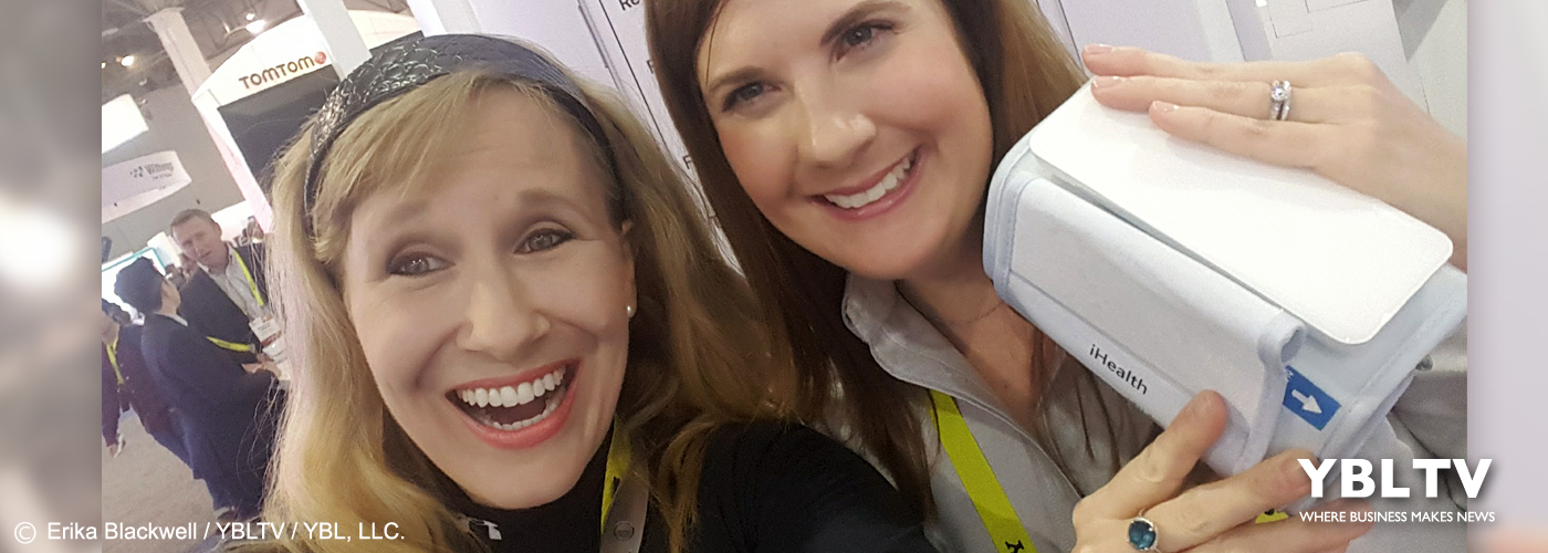 iHealth's, Business Development Director, Jessica Albere with YBLTV Anchor, Erika Blackwell at CES 2017.