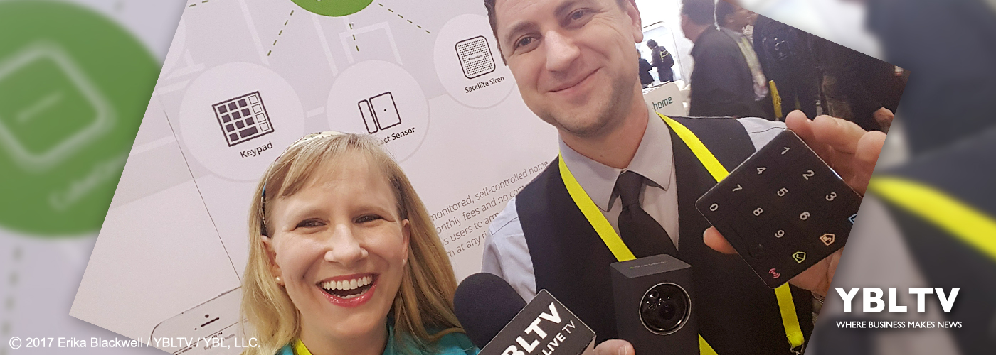 iSmart Alarm Inc.'s Director of Marketing, Zac Sutton with Erika Blackwell at CES 2017.