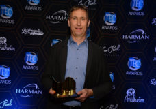 Jürgen Kockmann, Product Management, Live Performance & Music, accepted two awards on behalf of Sennheiser during the NAMM TEC Awards ceremony on January 21, 2017 (photo courtesy of NAMM Foundation)