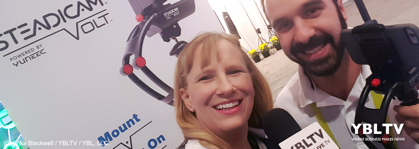 Tiffen's Marketing Communications Manager, Michael Cassara with YBLTV Anchor, Erika Blackwell at CES 2017.