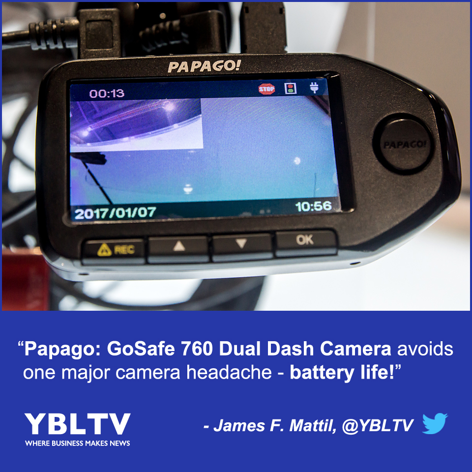 Papago's GoSafe 760 Dual Dash Camera Avoids One Major Camera Headache - Battery Life. YBLTV Review by James F. Mattil, YBLTV Writer / Reviewer / Photographer.