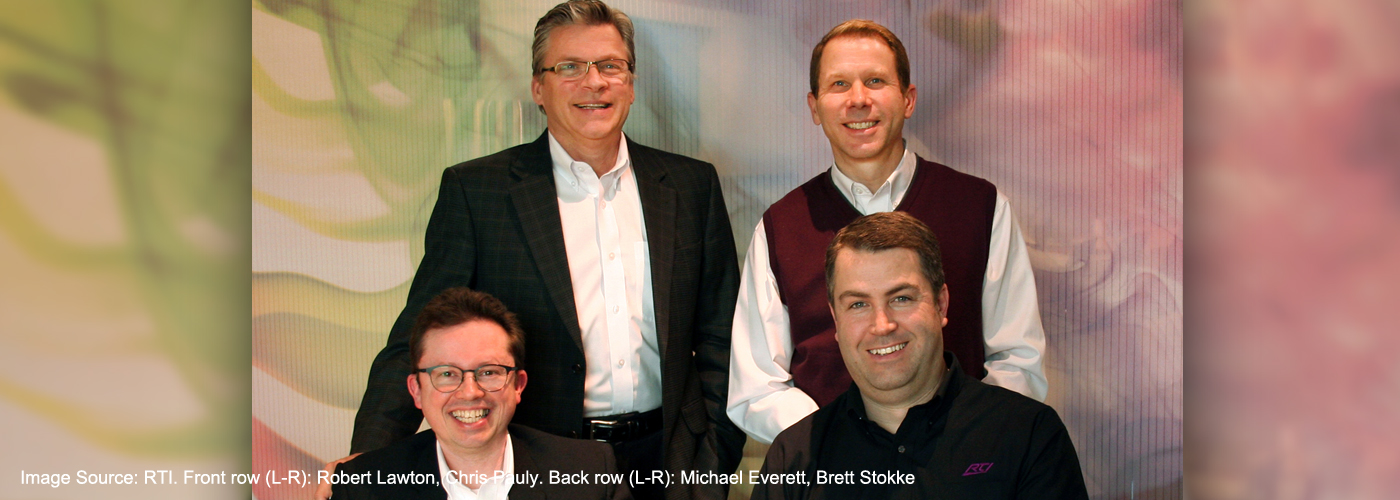RTI Corp. Front row (L-R): Robert Lawton, Chris Pauly. Back row (L-R): Michael Everett, Brett Stokke