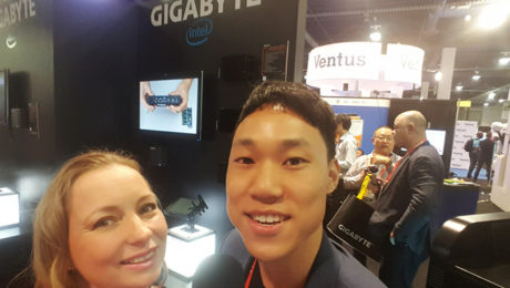 GIGA-BYTE Technology Co., Ltd.'s Alan Szeto, Technical PR & Copywriter chats with YBLTV Anchor, Dawn Church at the 2017 Digital Signage Expo in Las Vegas, NV.