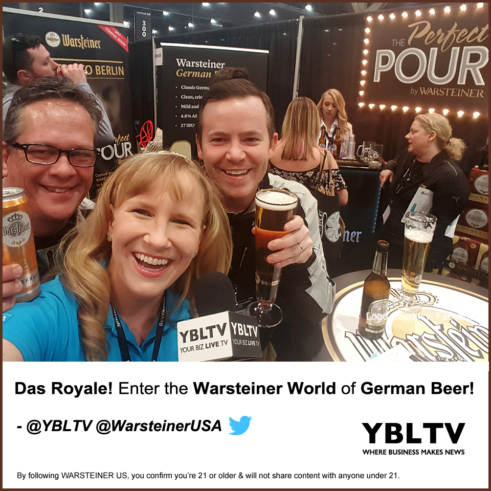 Warsteiner's Vice President, Marketing, Brian Reames and Vice President, Sales, Stephen Montano with YBLTV Anchor, Erika Blackwell at the 2017 Nightclub & Bar Show.